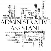 stock photo of polite  - Administrative Assistant Word Cloud Concept in black and white with great terms such as professional secretary executive and more - JPG