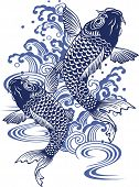 stock photo of freehand drawing  - I painted a carp