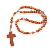 stock photo of prayer beads  - Wooden plain rosary on white background - JPG