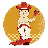 stock photo of baby cowboy  - Cowboy baby sit in western american boot - JPG