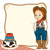 stock photo of wrangler  - Cowboy happy child in western traditional clothes and holiday cake - JPG