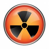 image of radium  - Round glossy icon with black design on orange background - JPG