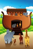 picture of noah  - A vector illustration of animals boarding Noahs ark - JPG
