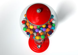 foto of gumball machine  - A regular red vintage gumball dispenser machine made of glass and reflective plastic with chrome trim filled with multicolored gumballs on an isolated white background - JPG