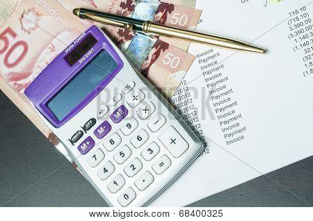 Finance Money, Calculator And Bills
