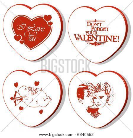 4 Valentines Hearts  - Hippo