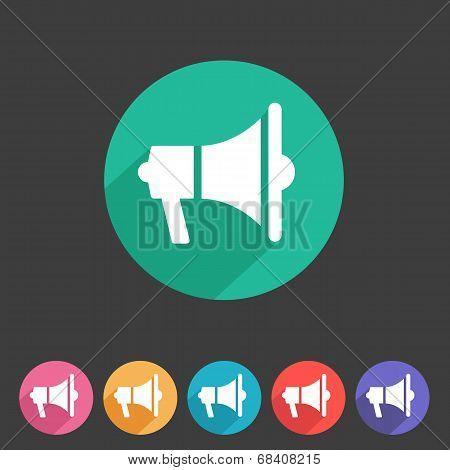Flat loudspeaker, megaphone icon