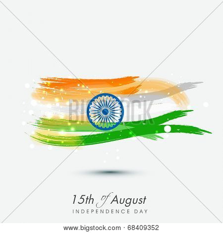 15th of August, Indian Independence Day celebrations background with national flag colors and ashoka wheel.
