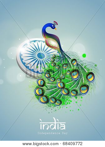Indian national bird peacock with ashoka wheel on blue background for 15th of August, Indian Independence Day celebrations.