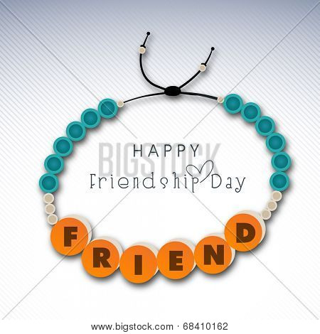 Stylish wristband decorated with blue pearls and stylish text friends on grey background.
