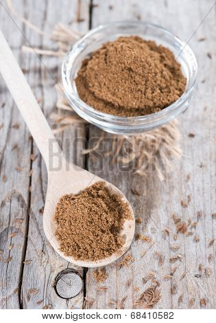 Caraway Powder On A Wooden Spoon