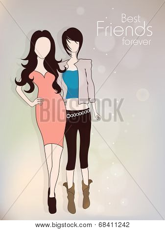 Smart young fashionable girls on shiny grey background for Happy Friendship Day celebrations concept.