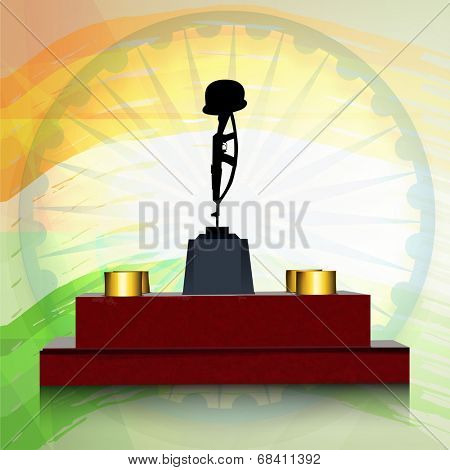 Amar Jawan Jyoti with ashoka wheel on shiny national flag colour background for 15th of August, Indian Independence Day celebrations.