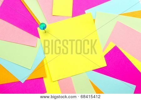 Sticky note with colorful background