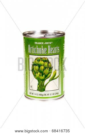 HAYWARD, CA - July 15, 2014: 14 oz can of Traders Joe's Artichoke Hearts by Trader Joes', a privately held chain of specialty foods stores