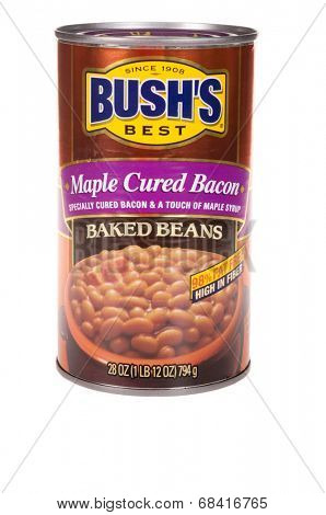 HAYWARD, CA - July 15, 2014: 28 oz can of Bush's Best Maple cured Bacon Baked Beans, 98% fat free