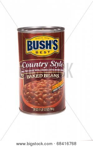 HAYWARD, CA - July 15, 2014: 28 oz can of Bush's Best, Country Style Baked Beans, 98% fat free