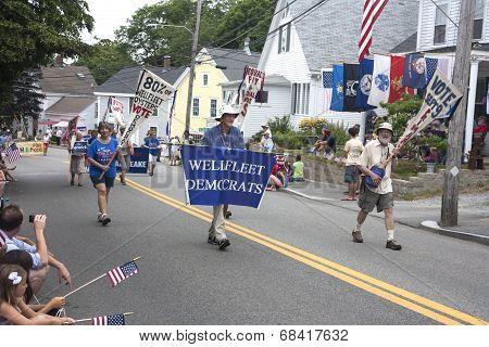 The Wellfleet Democrats walking in the Wellfleet 4th of July Parade in Wellfleet, Massachusetts