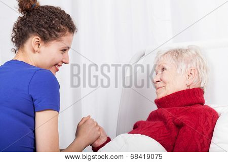 Smiling Woman And Her Granddaughter
