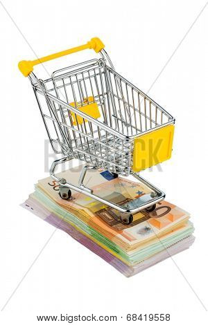 shopping cart is on banknotes, symbolic photo for shopping, purchasing power, money printing and inflation