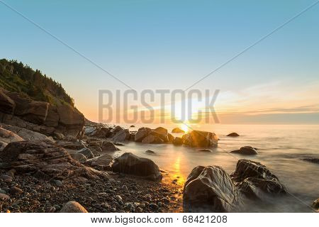 Ocean Shore At Sunrise