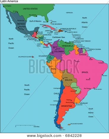 Latin America with Editable Countries, Names