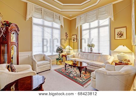 Bright luxury room with antique white furniture set wooden coffee table and grandfather clock