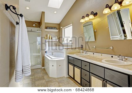 Modern Bathroom Intrerior In Brown And Beige Colors