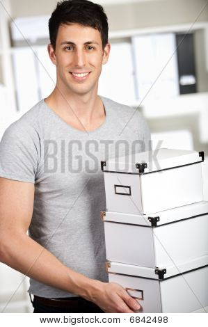 Man With Cardboard Boxes