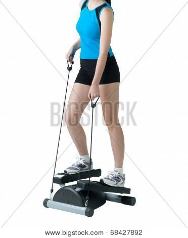 woman exercise with stepper machine