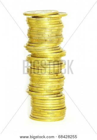 stock of coins isolated on a whiteness