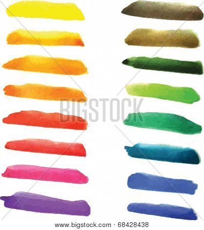 Set of watercolor stripes  in vibrant colors. Watercolor wet stains isolated on white.