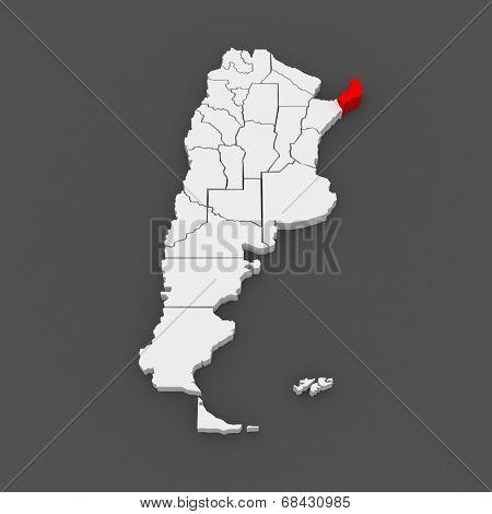 Map of Misiones. Argentina. 3d