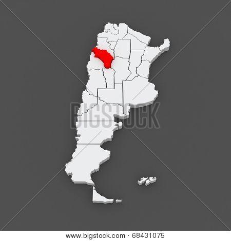 Map of La Rioja. Argentina. 3d