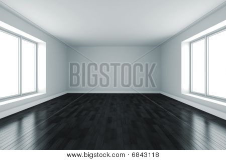 3d room with white walls, two big windows and black reflective floor