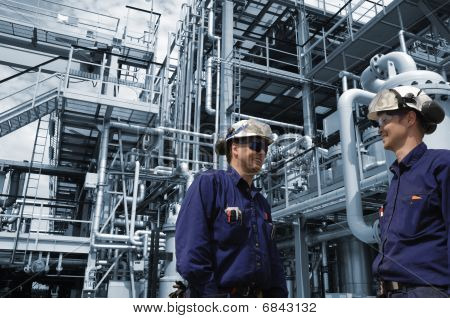 oil refinery and engineers