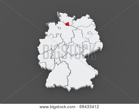 Map of Free and Hanseatic City of Hamburg. Germany. 3d
