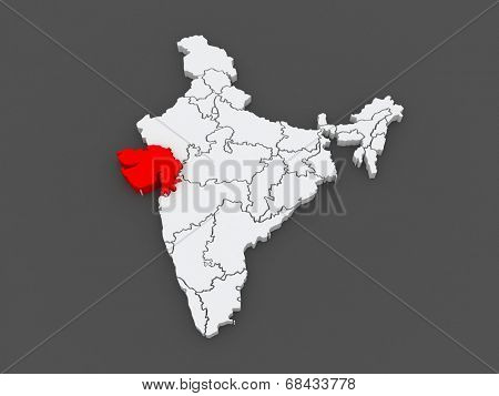 Map of Gujarat. India. 3d