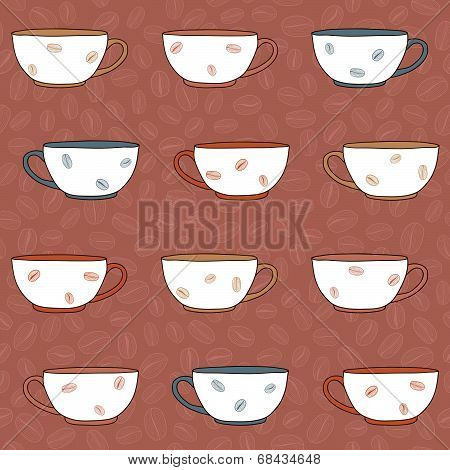 Hand drawn Coffee Cups Illustration. Seamless vector pattern. Monochrome.