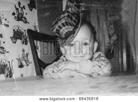 Boy Sitting At Table Vintage