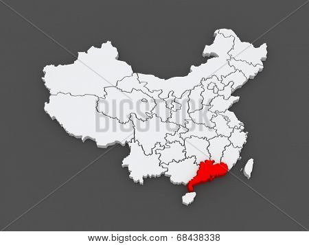 Map of Guangdong. China. 3d