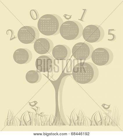 Calendar for 2015 year made of tree shape