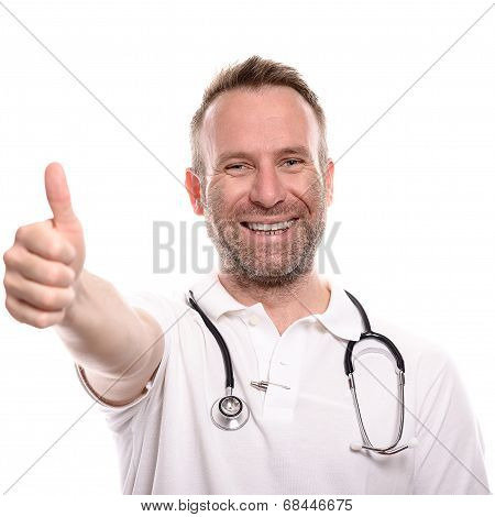 Happy Male Doctor Giving A Thumbs Up Gesture