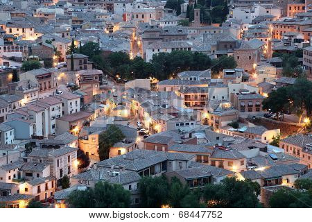 Old Town Of Toledo At Night, Spain