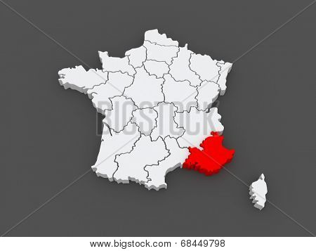 Map of Provence Alpes Cote d'Azur. France. 3d
