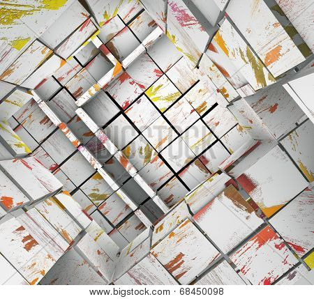 3D Fragmented Tiled White Paint Mosaic Labyrinth