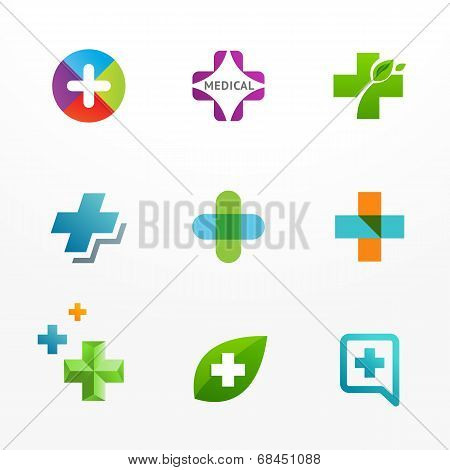 Set of medical logo and icons with cross and plus sign.