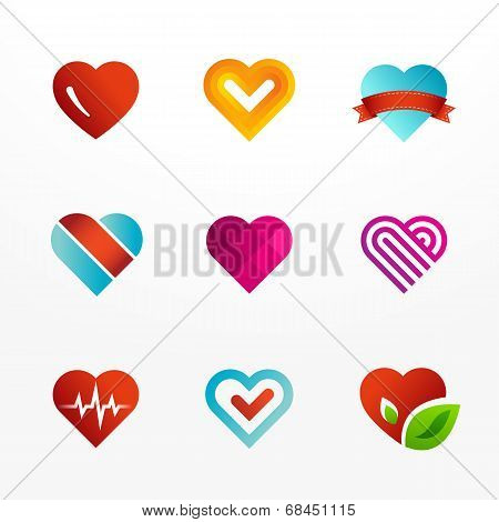 Heart symbol logo and icons set. Collection of colorful signs.
