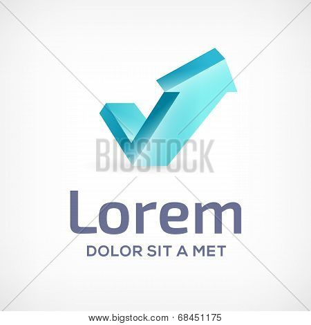 Letter V abstract business logo design template icon with arrow, growth chart.