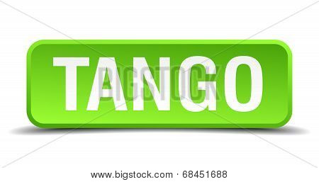 Tango Green 3D Realistic Square Isolated Button